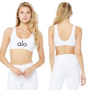 Alo Yoga Logo White Sports Bra Sz XS workout gym
